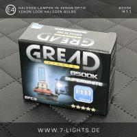 2x GREAD Silverline Halogen-Lampe Xenon-Optik 8500k H1
