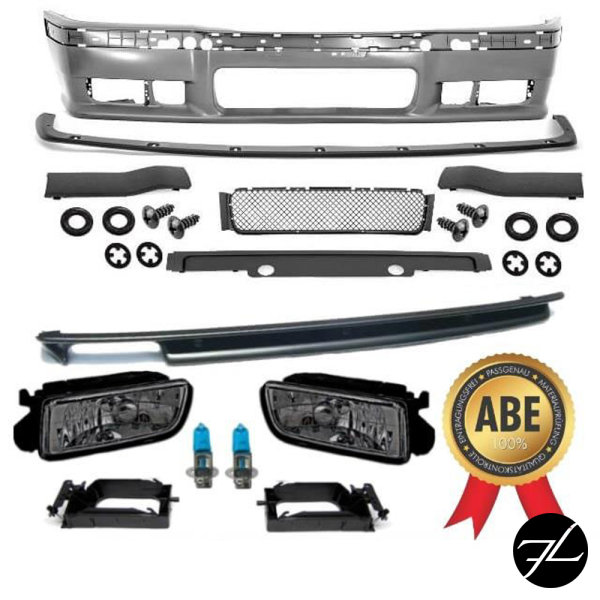 Bodykit Stoßstange + Diffusor + Nebel Black passt für BMW E36 Serie nicht M3 M
