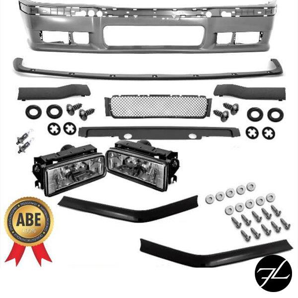 SPORT GT EVO Stoßstange vorne+Nebel Schwarz+ Flaps +ABE* passt für BMW E36 +M3