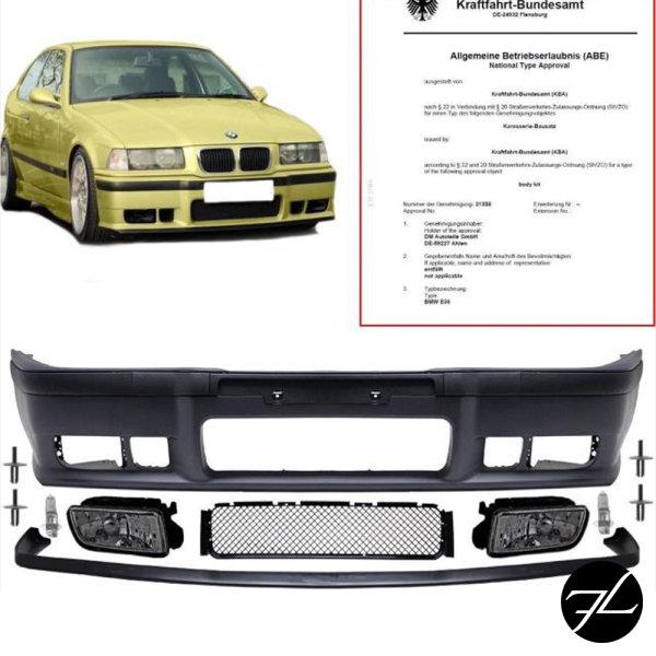 *ABE* Stoßstange SPORT+GT Lippe+ Nebel Black passt für BMW E36 auch M3 M +Nieten