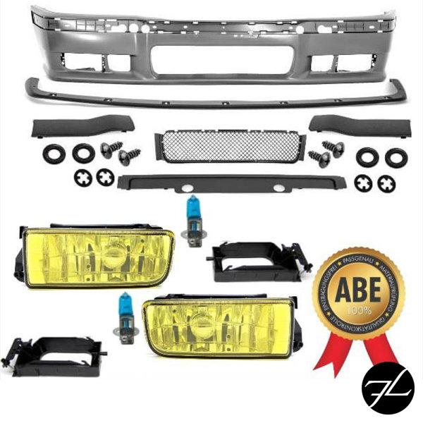 Stoßstange vorne +Lippe+Nebelscheinwerfer Gelb US +passt für BMW E36 +M M3 ABE*