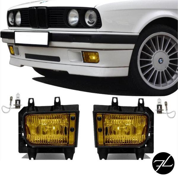 Nebelscheinwerfer SET Gelb + H3 Birnen passend für BMW E30 Facelift ab 1987