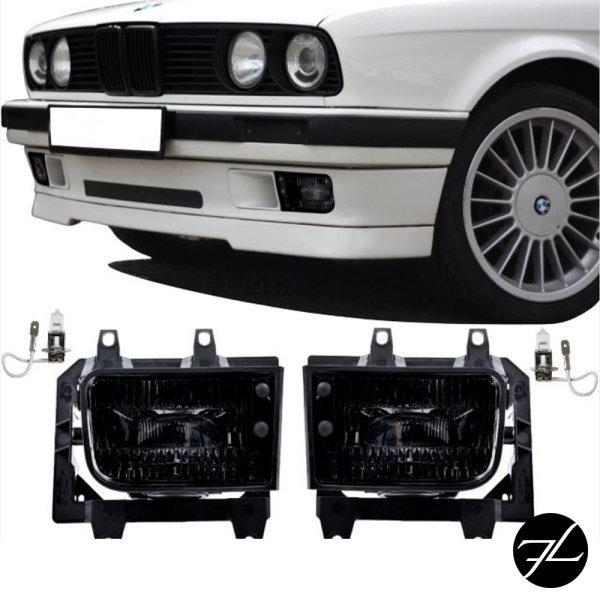 2x Nebelscheinwerfer Schwarz Echtglas +Set H3 passt für BMW E30 Facelift ab 1987