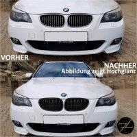 SET Doppelsteg Kühlergrill Schwarz MATT Grill passend für BMW 5er E60 E61 + LCI