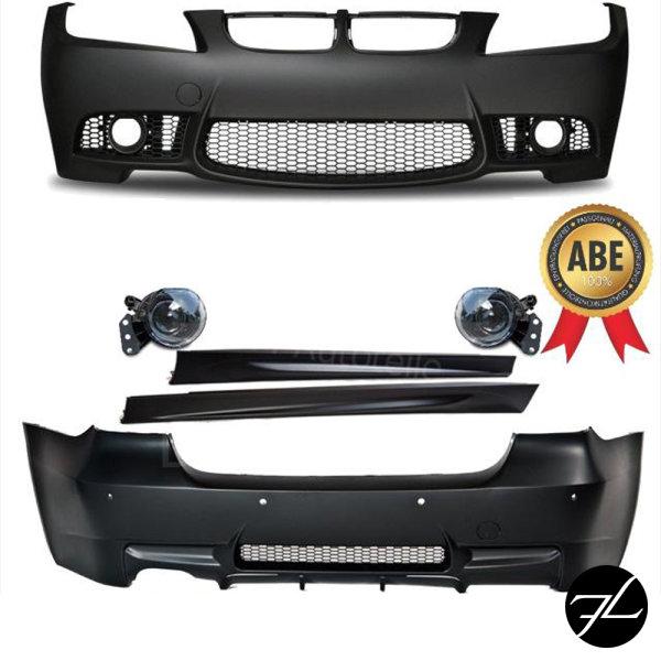 Bodykit Sport Stoßstange ABS Front + Heck + Seite passt für BMW E90 05-08 *ABE