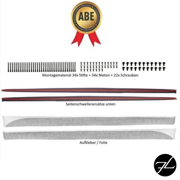 Set Seitenschweller Leisten SPORT-PERFORMANCE +Folie Schwarz Matt passt für BMW 3er F30 F31 M-Paket