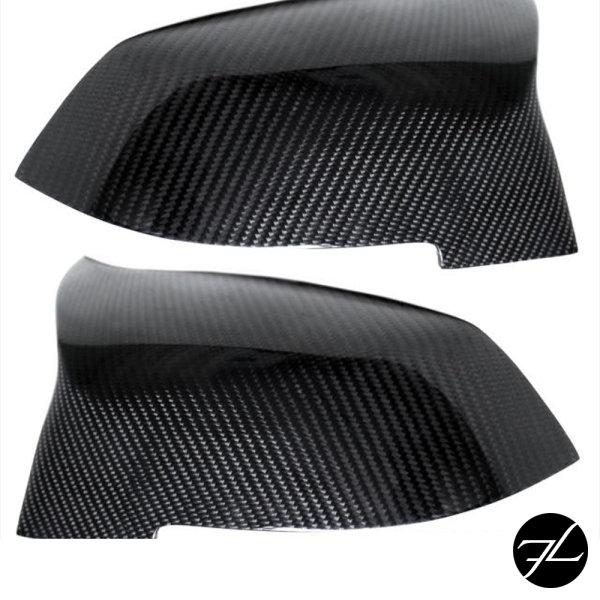 Satz Sport Spiegelkappen Außenspiegel  Echt Carbon Glanz passend für BMW F20 F21 F22 F23 F30 F31 F32 F36 F33  X1 E84