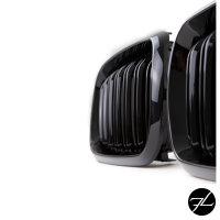 2x Kühlergrill SET Schwarz Glanz Doppelsteg passend für BMW X5 F15 +X6 F16 13-17