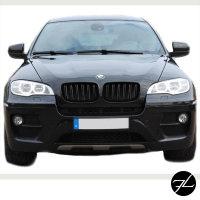 SATZ Kühlergrill Schwarz Glanz Doppelsteg passend für BMW X5 E70 06-13 + BMW X6 E71 E72 08-15