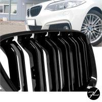 2x Doppelsteg Kühlergrill Grill Schwarz Glänzend passend für BMW 2er F22 F23 + M-Paket 14>