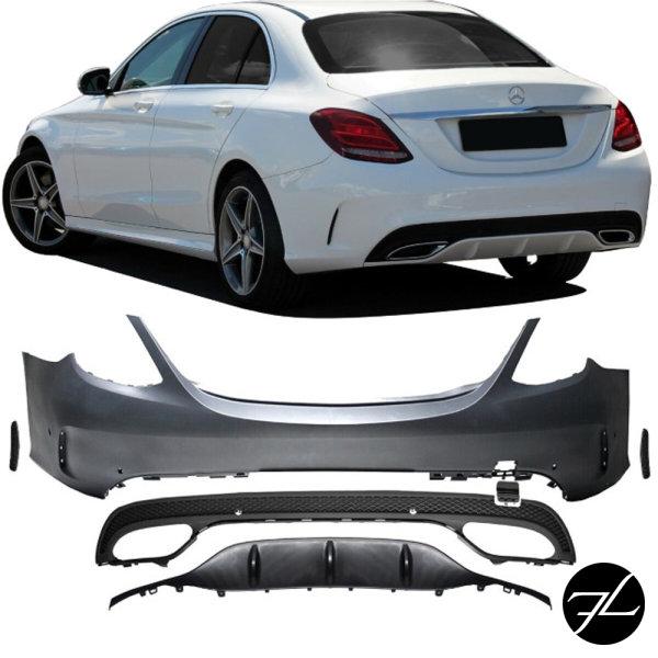 Stoßstange hinten Duplex + Halter komplett passend für Mercedes C-Klasse W205 nicht AMG C63