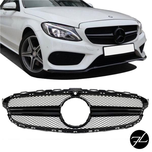 Kühlergrill Schwarz Glanz + Kamera passt für Mercedes W205 S205 14-18 kein AMG