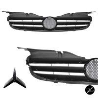 Kühlergrill hochglanz Schwarz + Chromleiste passend für Mercedes SLK R170 98-04