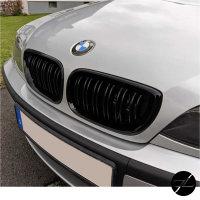 Kühlergrill Schwarz Glanz Doppelsteg passt für BMW E46 Limo Touring 01-05 auch M