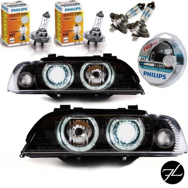 Set Angel Eyes Scheinwerfer Schwarz H7/H7 95-00 Facelift Optik passt für BMW E39 + 4x H7 Philips Birnen