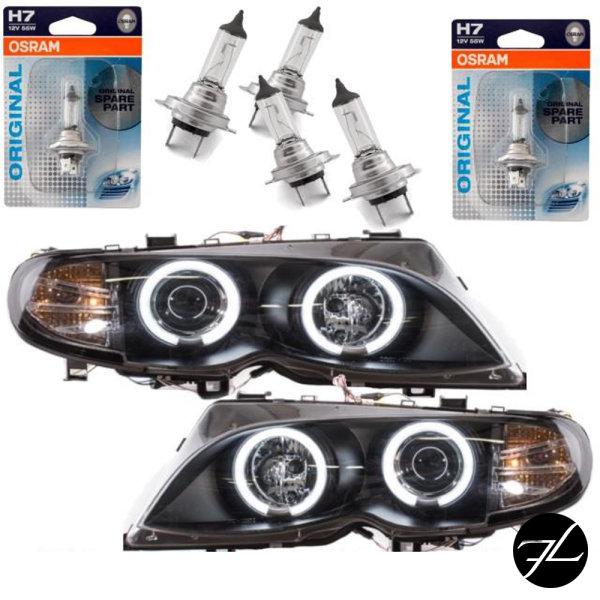 Set Limousine Touring CCFL Angel Eyes Scheinwerfer Schwarz H7/H7 passend für BMW E46 Bj 01-05+ 4x H7 Osram Birnen