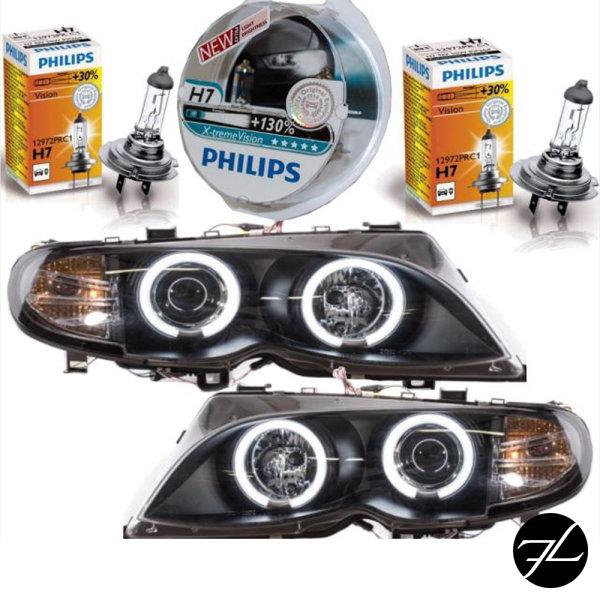 2x CCFL Angel Eyes Scheinwerfer Schwarz+PHILIPS XENON passt für BMW E46 FACELIFT