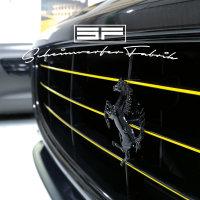 Lackierung Fahrzeug Embleme Leisten - Ferrari - Logos, Zeichen, Beschriftung, Badges Schwarz Glanz 2 Teile