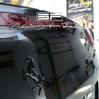 Lackierung Fahrzeug Embleme Leisten - Ferrari - Logos, Zeichen, Beschriftung, Badges Schwarz Glanz 3 Teile
