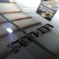 Lackierung Fahrzeug Embleme Leisten - Ferrari - Logos, Zeichen, Beschriftung, Badges Sonderfarbe Matt/Glanz 2 Teile