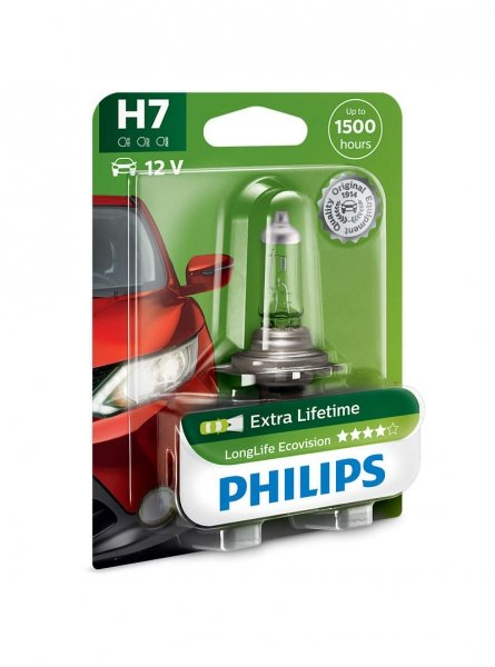 H7 12V 55W PX26d LongLife EcoVision 1st. Blister Philips