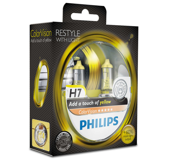 H7 12V 55W PX26d ColorVision yellow +60% 2st. Philips