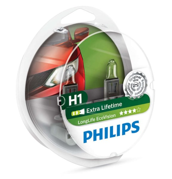 H1 12V 55W P14,5s LongLife EcoVision 2st. Philips