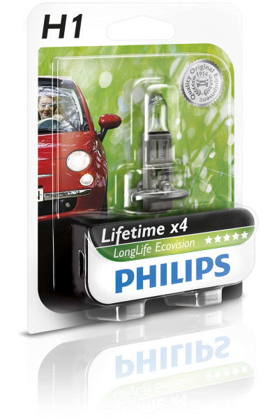 H1 12V 55W P14,5s LongLife EcoVision 1st. Blister Philips