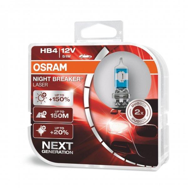 HB4 12V 51W P22d NIGHT BREAKER® LASER Next Generation +150% 2 St. Osram