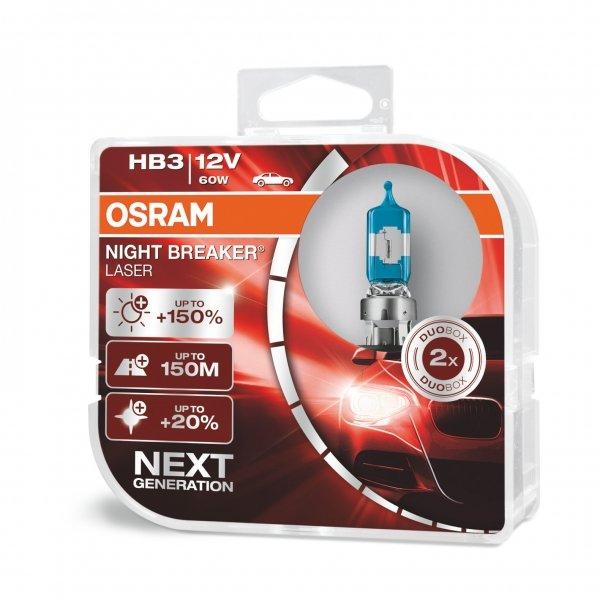 HB3 12V 60W P20d NIGHT BREAKER® LASER Next Generation +150% 2 St. Osram