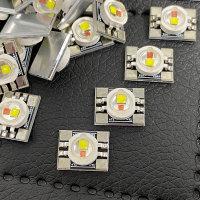 LED Bi-Color Weiss-Orange auf Alu-Platine 10x13mm vorgelötet White Amber inkl. Kabel (nicht verlötet) und Wärmeleitpad