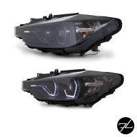 Set Klarglas Schwarz Scheinwerfer H7/H1 Facelift LED Angel Eyes Design passt für BMW 3er F30 F31 bj.11-15